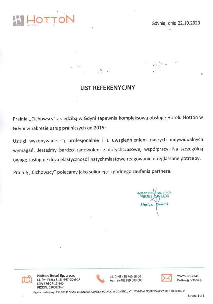 List referencyjny hottel Hotton
