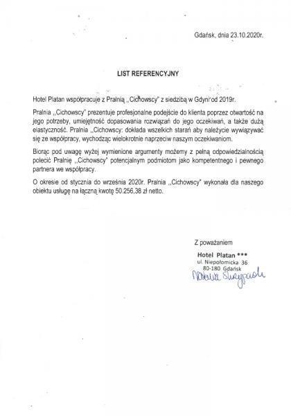 List referencyjny hotel Platan
