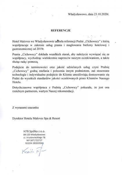 Referencje hotel Maloves